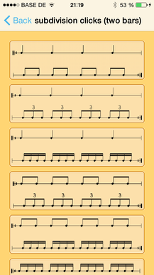 subdivisions clicks (two bars)