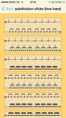 subdivisions clicks (four Bars)